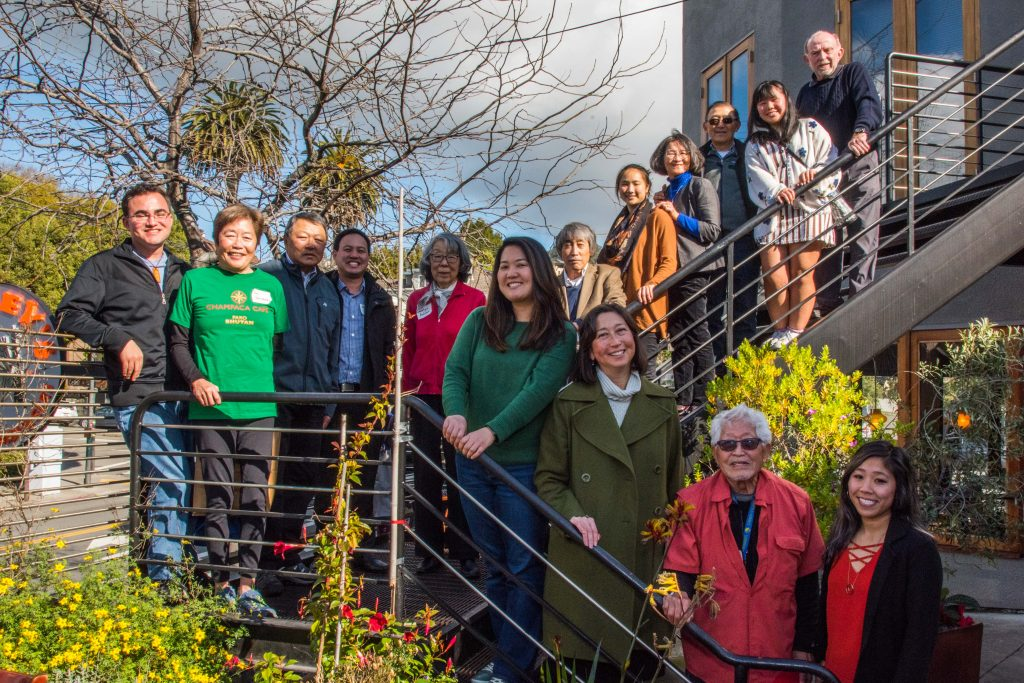 Photo of the 2020 Berkeley JACL Board of Directors on stairs
